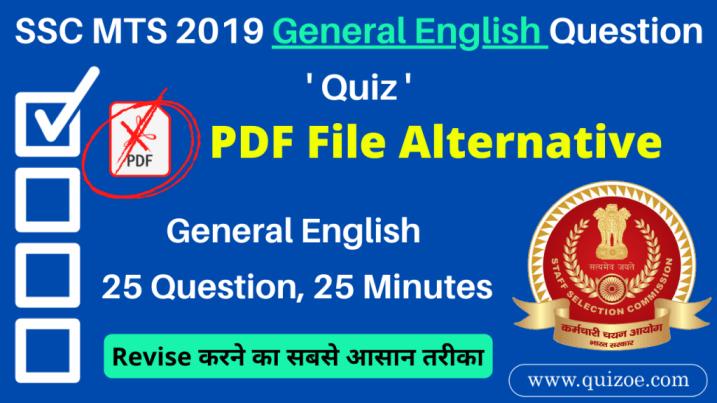 SSC MTS General English Quesion Quiz